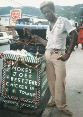 Hmmm, Jerk Chicken or Burger King?  Jerk Chicken or Burger King? Think I'll go with Smokey Joe.  Photo: Rich Goldberg